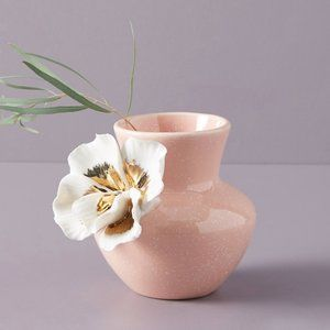 Anthropologie Ceramic Bloom Pink White Gilded Vase